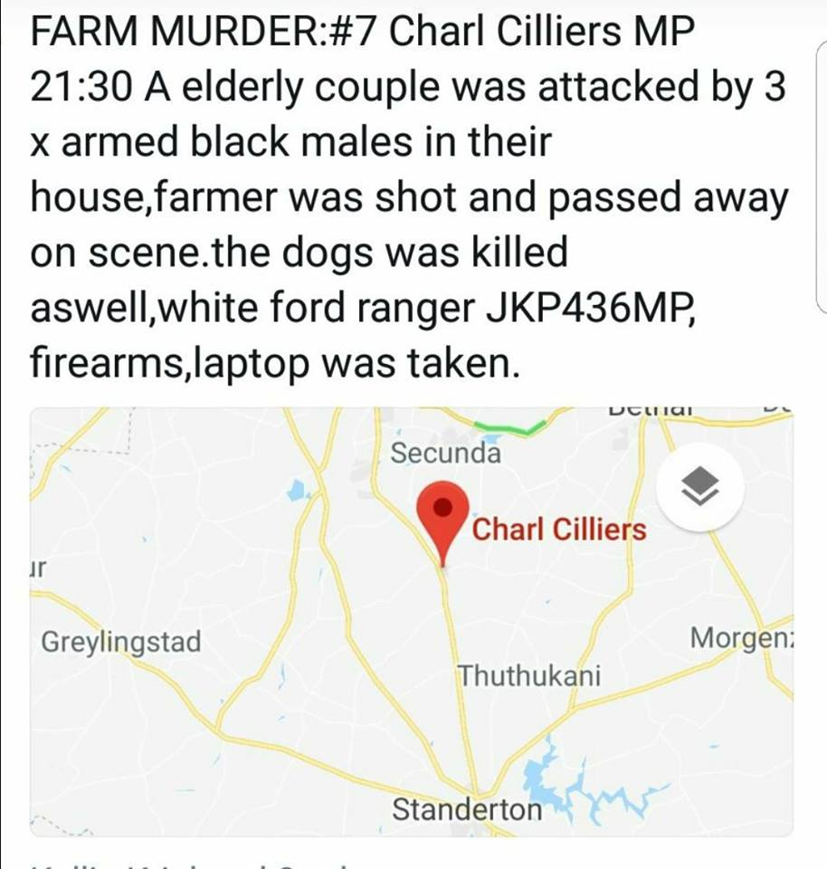 #FARMMURDER: Man (73) Murdered In Cold Blood, Dogs Shot Dead – Charl Cilliers, Mpumalanga